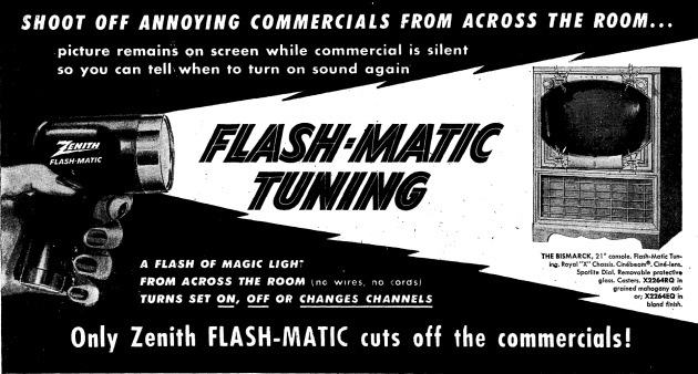 A 1955 advertisement for Zenith Flash-Matic tuning.