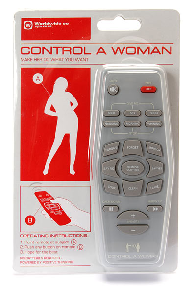 A gag gift that translates longstanding fantasies about remote control into material form.