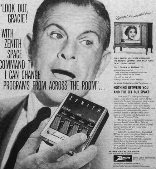 Zenith remote control ad featuring comedians George Burns and Gracie Allen.